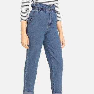 ee96e08493 SHEIN Rolled Hem Frill High Waist Jeans